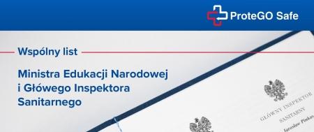 Aplikacja ProteGO Safe  – wspólny list Ministra Edukacji Narodowej  i Główn