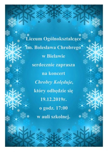 Zaproszenie na koncert Chrobry Kolęduje